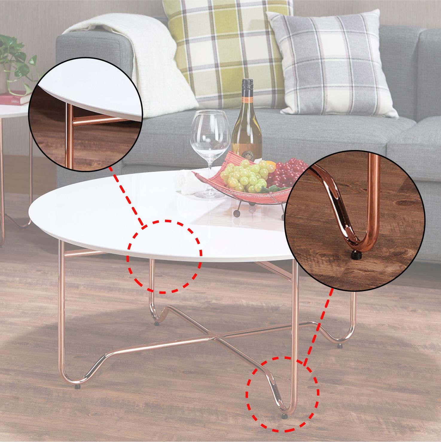 Color de escritorio blanco brillante con pies de metal mesa de ...