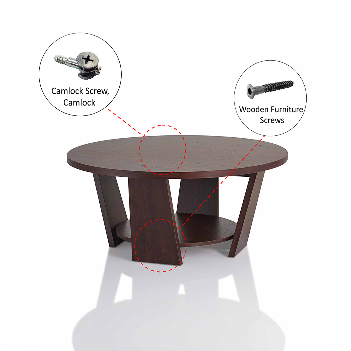 Double layer round tabletop coffee table Hardware Introduction