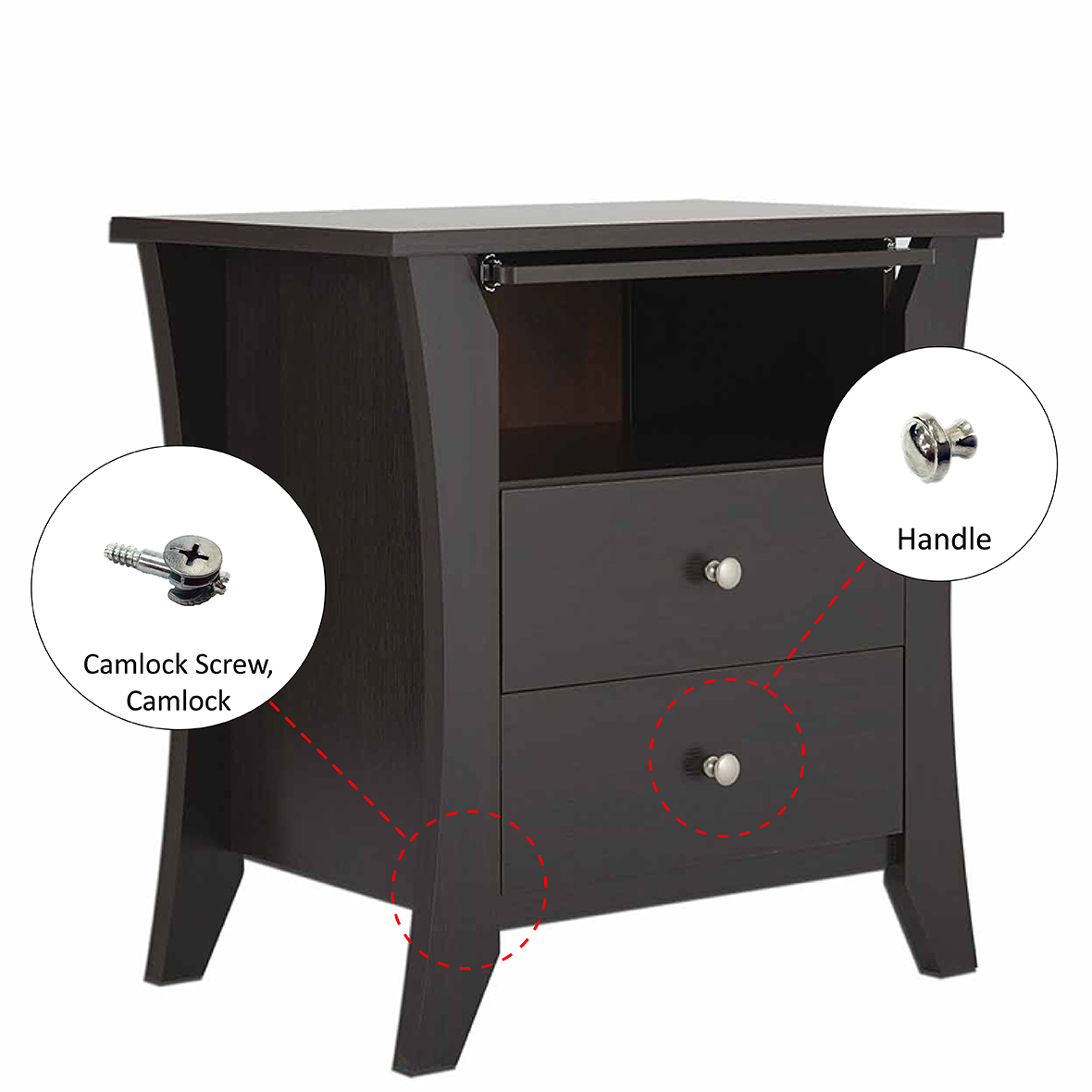 Espresso Laminate 3 Layers Night Stand (side Table) Hardware Introduction